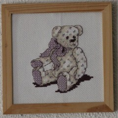 Mounted Cross Stitch Bear