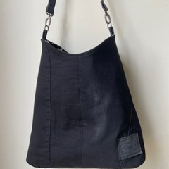 UPCYCLED BLACK LEVIS AND PLEATHER TOTE