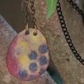 Honeycomb pendant- enamelled copper