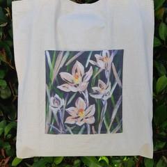 Salmon Sun Orchid Calico Tote Bag
