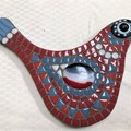 Mosaic - red, white and blue bird