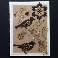 Elegant Birthday Card with Birds and Flowers
