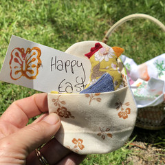 Fabric Easter Egg with tiny chicken softie  (sustainable!)