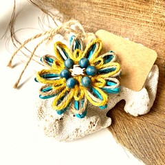 Rustic Natural Fibre Flower Beaded Embellishment Gift Tag Jute Decor Turtle