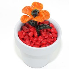 Lampwork Potted Garden Flower - Orange