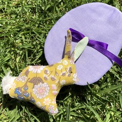 Fabric Easter Egg with tiny Bunny softie  (sustainable!)