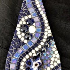 Blue, black and white mosaic teardrop