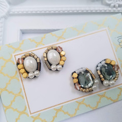 Beads earrings, Beads stitch earrings, Beads stud earring, Glass beads, Cabochon
