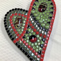 Mosaic - red, green and black heart