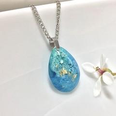Aqua and Blue Raindrop Necklace