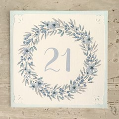 PERSONALISED Birthday Card Floral Wreath Aqua - Personalise Age or Name