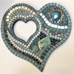 Double teal mosaic heart