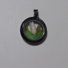 Sea Glass and Shell Floating Locket Pendant  #133
