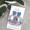 """""""Pabla Hoop"""", Genuine Leather/ Clay Stud Earrings, Blue/ Pink Floral"""