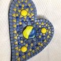 Mosaic blue and yellow heart