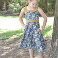 Mustard/Navy Floral Vintage Country Style Dress - Girls  Size 8