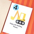 Any Age Digger Birthday Card, Personalised, Custom Made Handmade Birthday Card