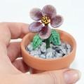 Lampwork Potted Garden Flower - Violet