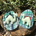 Fabric Easter Egg with tiny Dinosaur softie  (sustainable!)