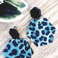 Hexagon Stud, Genuine Leather Earrings, Aqua Blue Leopard/Black