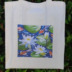 Water Lily Calico Tote Bag