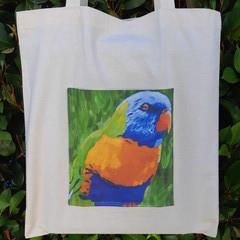 Rainbow Lorikeet Calico Tote Bag