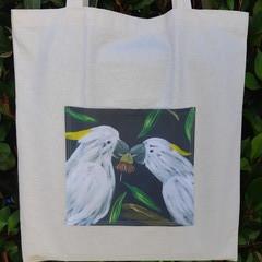 Sulphur Crested Cockatoo Calico Tote Bag