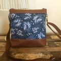 Jasmine Crossbody Bag - Wattle on Blue/Tan Faux Leather