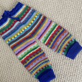 Blue knitted cuffed pants - Size 6 months - Hand knitted in Pure Wool
