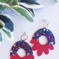 """""""Arch Flower"""", Genuine Leather Earrings, Speckled Black/ Red"""