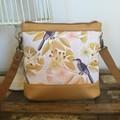 Jasmine Crossbody Bag - Birds with Yellow Gum Blossom/Mustard Faux Leather