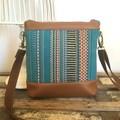 Jasmine Crossbody Bag - Jade Stripe/Tan Faux Leather