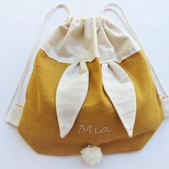 Kids Personalised Bunny Bag –  Mustard