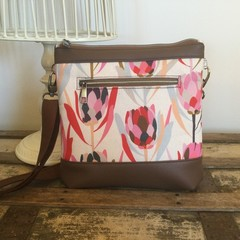 Jasmine Crossbody Bag - Pink Proteas/Dk Brown Faux Leather