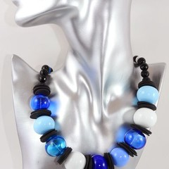 Bold And Beautiful Blue Lampwork Blown Hollow Bead Necklace With Sterling Silver