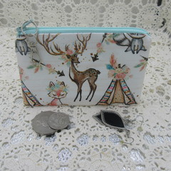 Coin Purse - Women's/Girls for Coins, Cards,Jewellery etc - Boho Deer & Teepee