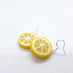 Lemon slice dangle and Studs earrings, Mini food jewelry