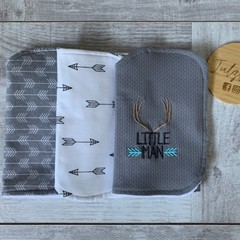 Burp cloth, set 3, embroidered sentiment, tribal theme, baby boy gift