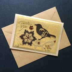 Elegant Thank You Card with Bird and Flowers