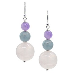 Cara Sterling Silver Rose Quartz, Aquamarine & Amethyst Earrings