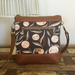 Jasmine Crossbody Bag - Flower Faces/Tan Faux Leather