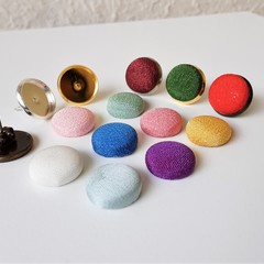Small round Kimono stud earrings , Red Blue Yellow Green Purple White Pink Brown
