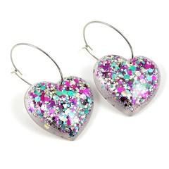 Hearts on hoops - pale gold, hot pink & aqua mix
