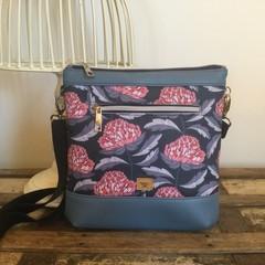 Jasmine Crossbody Bag - Waratah on Navy/Blue Faux Leather