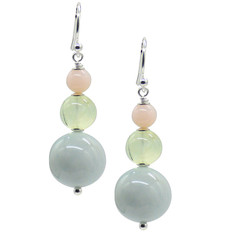 Cara Sterling Silver Aquamarine, Prehnite & Pink Opal Earrings