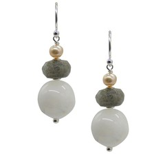 Cara Sterling Silver Moonstone, Labradorite & Pearl Earrings