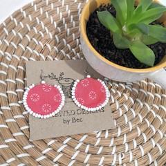 Coral Fabric Dangle Earrings