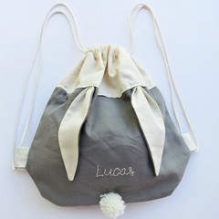 Kids Personalised Bunny Bag –  Sage Green
