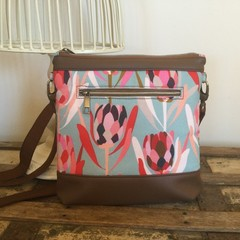 Jasmine Crossbody Bag - Pink Proteas on Blue/Dk Brown Faux Leather