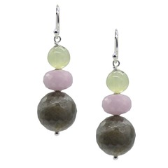 Cara Sterling Silver Labradorite, Kunzite & Prehnite Earrings
